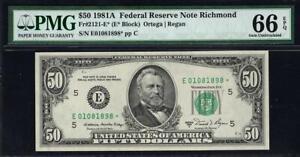 1981a* $50 Richmond STAR Federal Reserve Note • FRN 2121-E* • PMG 66 EPQ