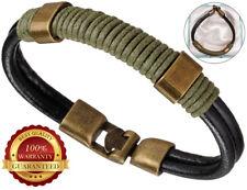 Genuine Surfer Leather Bracelet Mens Wristband Bronze Buckle Cuff Braided Rope