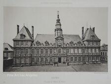 """Antique Photogravure """"Reims"""" Facade de l'Hotel de Ville, France 1893-95"""