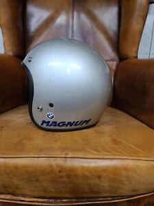 Vtg. Blue & Gray Bell MAGNUM Open Face Motorcycle Helmet
