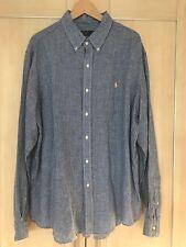 Ralph Lauren Blue Gingham Linen Long Sleeved Shirt Size XXL