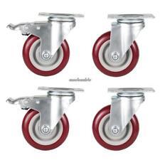 "4 Pack/Set Heavy Duty 100mm Red Rubber Wheel 4"" Holes Trolley Casters Brake"