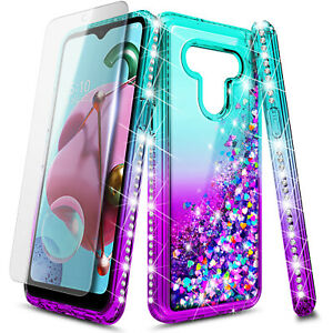 For LG G6 Case, Liquid Glitter Bling Phone Cover + Tempered Glass Protector