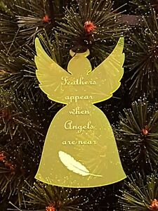 Acrylic Christmas Xmas Remembrance Bauble Angel Feather