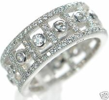 Solid 925 Sterling Silver Lab Simulated Diamond Openwork Band Ring Sz-7 '