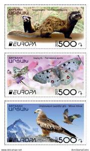 Artsakh Armenia 2021 MNH** Mi 231-233 Europa Marbled polecat Butterfly Eagle