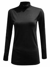 Women Ladies Fashionable Polo Ribed Top Turtle Neck Long Sleeve Jumper High Neck