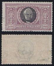 """Regno 1923 """"Manzoni"""" L.5 violetto grigio n.156 nuovo MLH* cert. Caffaz"""