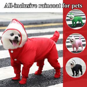 Hot Pet Small Dog Puppy Raincoat Waterproof Four-legged Coat Rain With Hood Coat