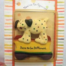 Polka Dotted Dog Rainbow Dog Bone DARE TO BE DIFFERENT Frig Refrigerator Magnet