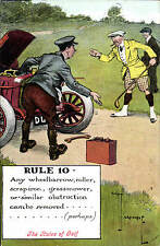Golf Comic. Rules of Golf. Rule 10 by Chas. Crombie. Card by Valentine's. Car.