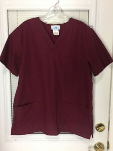 SB Scrubs Women's Red Burgundy Maroon V-Neck Scrub Shirt Size Medium EUC