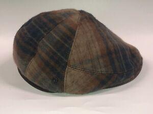 Helen Kaminski XY WARNER/ Kingfisher Hurbert Plaid Flat Cap Newsboy Hat M NWT