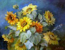 Joseph Pilters 1877 Krefeld / bedeutender Blumenmaler / Stillleben (Sonnenblume)
