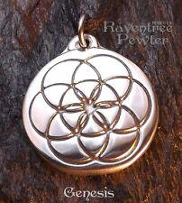 Genesis - Pewter Pendant - Spiritual Jewelry, Creation Manifest, Sacred Geometry