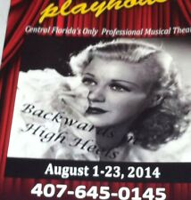 GINGER ROGERS Backwards In High Heels program Winter Park Playhouse Florida