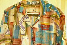 Nepal Vtg 90S L Women Geometric Lightweight Ethnic Print Cotton Ss Blouse Shirt