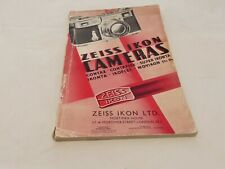 ZEISS IKON GENERAL CATALOGUE OF CAMERAS & AMATEUR PHOTOGRAPHIC 1937