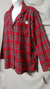 "Macys Family PJ's Red Green  Pajama Top Plaid  Plus 2XL 48"" Bust"