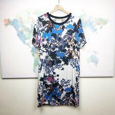 Part Two Copenhagen Shift Dress Blue Black Floral Short Sleeves Size EU 36 US 6