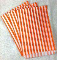"100 X 7"" x 9"" Orange Candy Stripe Paper Sweet Bag Retro"