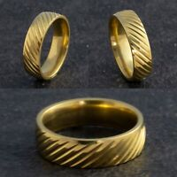 6mm Stainless Steel Mens Womens Retro Wedding Band - Gold Ring - Sizes M to X