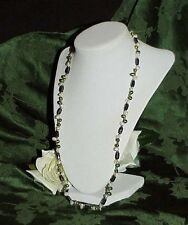 "SILVER TONE 25"" GREEN WHITE PEARL BEAD HEMATITE MAGNETIC WRAP BRACELET NECKLACE"
