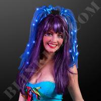BLUE Light up FLASHING Blinking NOODLE LED HEADBAND FUN LED Pigtails!