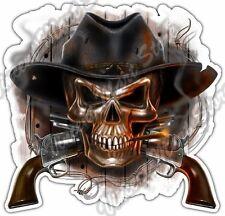 "Cowboy Skull Skeleton Western Hat Guns Wire Car Bumper Vinyl Sticker Decal 4.6"""