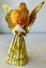 "Vintage Blond Angel Tree Topper Gold Plastic on Cardboard Small 7"" Plastic Head"