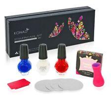 Konad Stamping Nail Art Set B 3 pulimentos 11ml, 4 Planchas para Estampar Sello Raspador