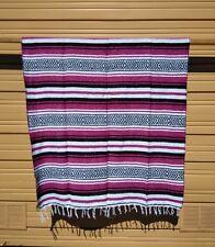 "Mexican Falsa Blanket ,Throw ,Serape , Blanket, Yoga , 72"" x 52"" , Pink"