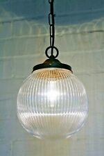 Ceiling Light An Antique Style Pendant Ridged Glass Globe & Brass Fittings