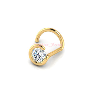 New Arrived!! Pretty 0.02 Carat 1.5mm Diamond Nose Ring In 14K Yellow Gold