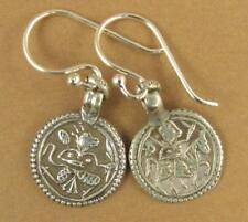 Indian tribal silver earrings. Old/antique. Hanuman protection amulet. 925