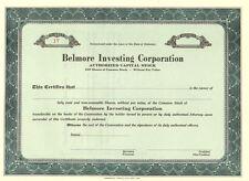 Belmore Investing Corporation > stock certificate share