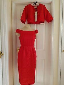 LINDY BOP Amanda Dress & Jacket Set - Cranberry Brocade - UK 10/12 - NWT