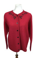 Pendleton Women's Size S Tall Red Floral Cardigan Sweater 100% Virgin Wool