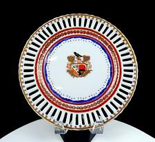 """AUSTRIAN PORCELAIN BEEHIVE MARK RETICULATED ARMORIAL 9.75"""" WALL PLATE 1850'S"""