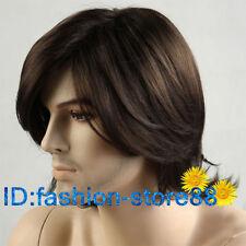 FASHION uomo uomo medio lungo Marrone Scuro Cosplay parrucche di capelli naturali + Gratis Cap parrucca
