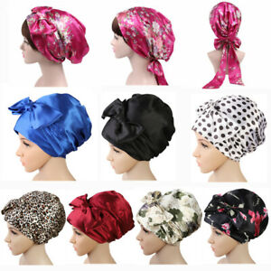 Women Silk Sleep Cap Night Hair Bonnet Soft Hat Elastic Floral Satin Turban Wrap