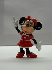 Minnie Mouse Collectible Figurine Red Dress Bow Pointing Finger Plastic Disney