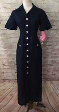 Jessica Howard Modest Linen Shirt Dress size 8 Petite Navy Blue Star NEW