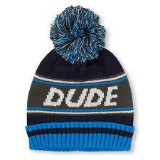 Boys 'Dude' Striped Pom Pom Beanie HAT size S/M (4-7YR)