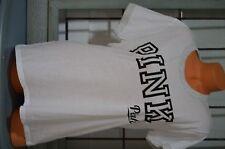 Victoria's Secret love pink t shirt top Large gray white black sporty logo