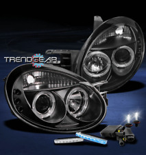 2003 2004 2005 DODGE NEON HALO LED BLACK PROJECTOR HEAD LIGHT+BLUE DRL+6000K HID