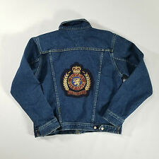 Tommy Hilfiger Full Zip Jean Jacket MEDIUM Metal Embroidered Crest Patch VTG 90s