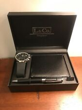 L & Co. Timepieces Mens Watch With Pen And Wallet Black