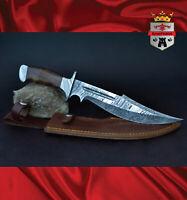 KingForge - 087D Stalwart, Damascus hunting knife weapon survival blade gift