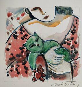 MARTINERY. Le petit chat vert  papier aquarelle épais  25x25